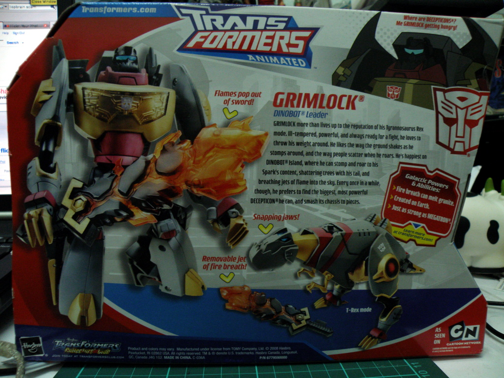 Grimlock Voyager Package back view