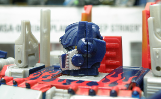 Optimus Prime head from the side.