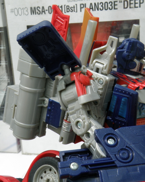Optimus Prime shoulder pad detailing and articulation