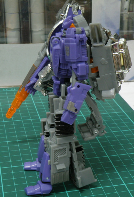 Galvatron robot side view.
