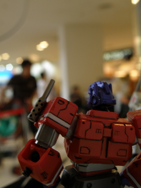 Optimus Prime looking back at the visitors.
