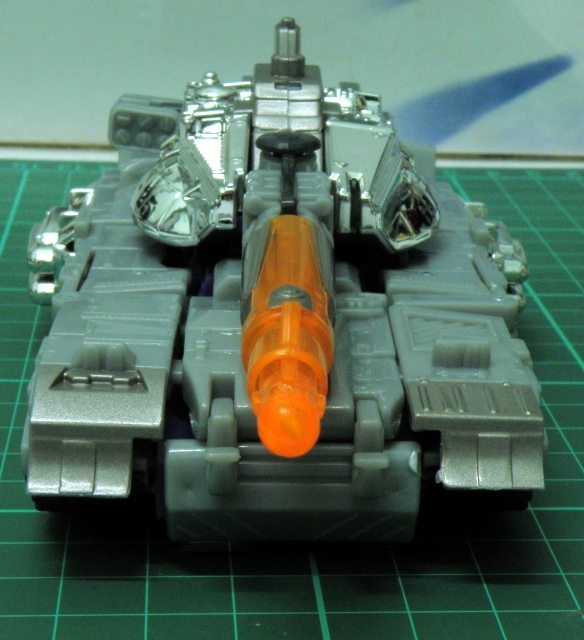 Galvatron alternate mode tank front view.