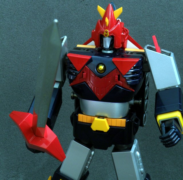 Voltes V sword hold firm with anime accurate hand.