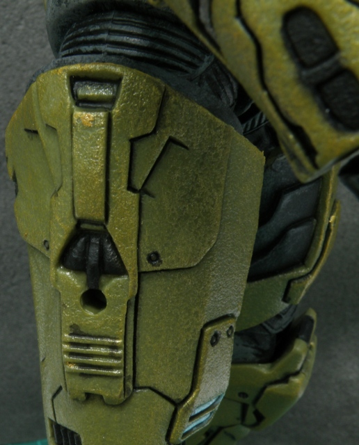 MasterChief right thigh, a hole to attach grenade.