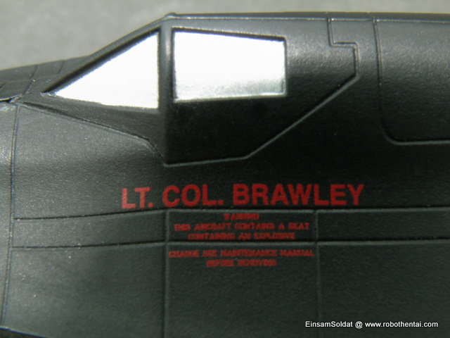Name and rank of pilot assigned to the SR-71 Backbird printed at the lower part of the cockpit canopy.