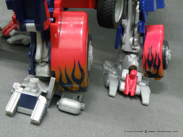 Optimus Prime Robot Compare Legs.