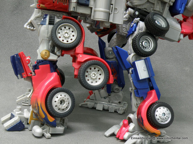 Optimus Prime Robot Compare Legs Side.