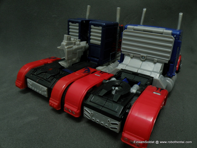 Optimus Prime Semi Truck back comparison.